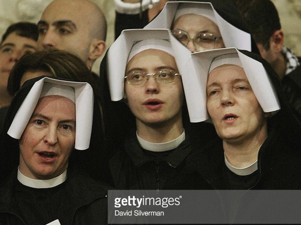 Catholic nuns in St. Catherine's Church, Bethlehem 2003