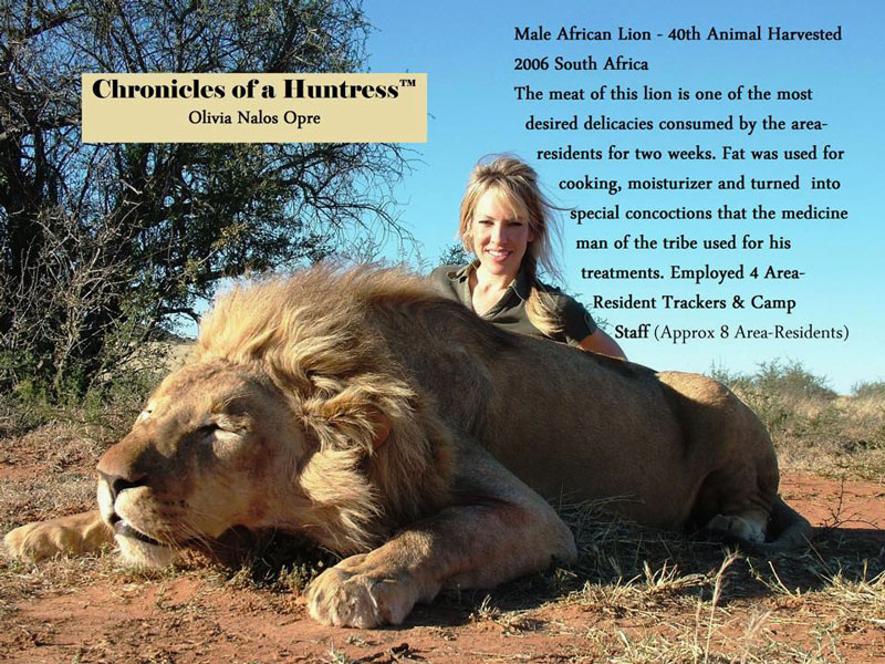 Olivia Opre with lion kill