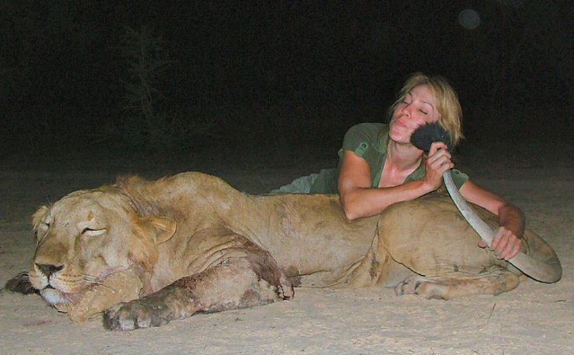 Olivia Opre with lion trophy kill